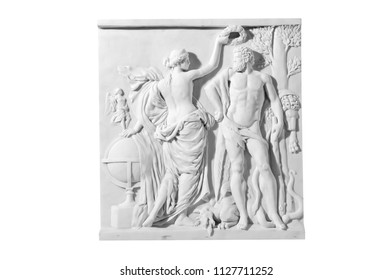 Classical marble slab with antique scene on a white background
