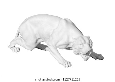 Classical marble statue of a wild cat on a white background