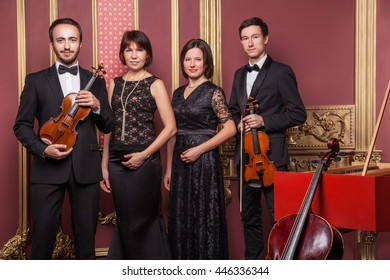 Classical music quartet posing after the concert with their instruments in hall and looking at camera. Studio shot.