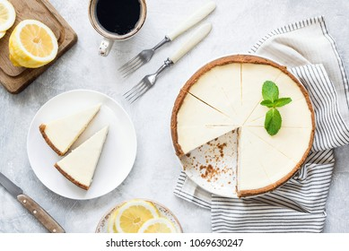 Classical New York Cheesecake On White Background. Table Top View