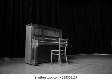 Classical old piano in black and white