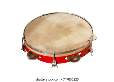 classical percussion musical instrument tambourine isolated on white background