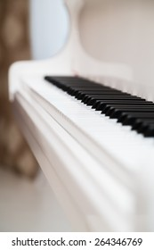 Classical piano keyboard with shallow depth of field