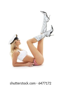 classical pin-up image of lovely blond in sailor cap