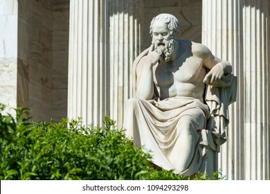 classical statue of Socrates at academy of athens