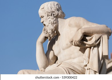 classical statue of Socrates from side