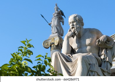 classical statue of Socrates from side with athena statue above and back