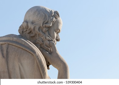 classical statue of Socrates from side close up