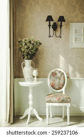 Classical style Interior decoration with chair table and flower with wallpaper