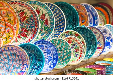 Classical traditional Turkish ceramics colorful dishes at the Istanbul Grand Bazaar. Istanbul, Turkey souvenirs.