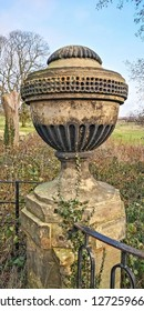 A classical urn at the Yorkshire Sculpture Park, Wakefield, Yorkshire, UK