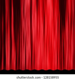 Classical vintage red curtain of theater stage background.