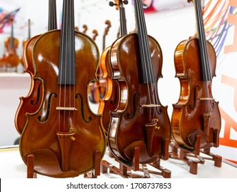 Classical violins standing on a wooden base. Stringed musical instruments of a Symphony orchestra. Close-up deck of the violins.