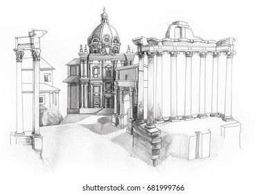 Classical watercolour drawing of antique Rome