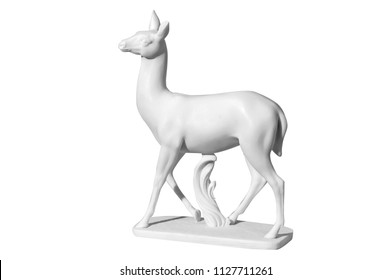 Classical white marble statue of a deer on a white background