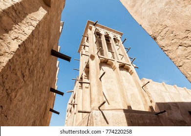 Classical wind tower for cooling in old Dubai, United Arab Emirates