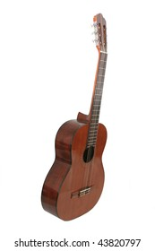 Classical Wood Guitar on white background