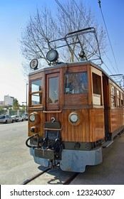 Classical wooden electrical train in Soller (Majorca - Balearic Islands - Spain)