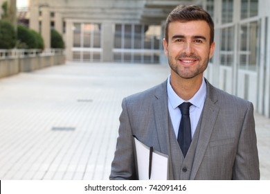 Classically good looking male isolated in office space