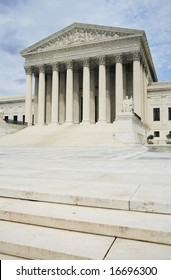 The classically ordered United States Supreme Court building in Washington, DC.