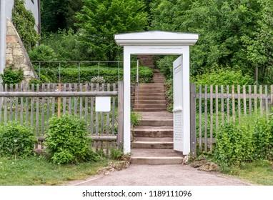 Classicist garden door to Goethe's garden house in Weimar