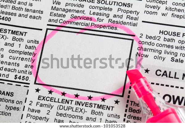 Classified Ad, newspaper, business concept.