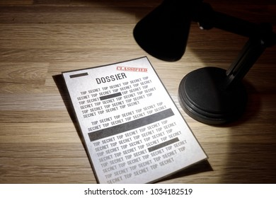 Classified dossier with redactions in a spotlight - Black and white