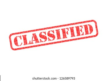 'CLASSIFIED' Red Stamp over a white background.