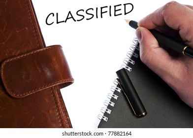 Classified write by male hand