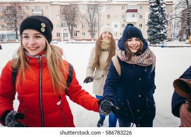 Classmates in winter Park