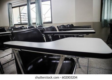 Classroom with a desk stacked alternately  8