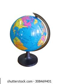 classroom globe isolated on white background