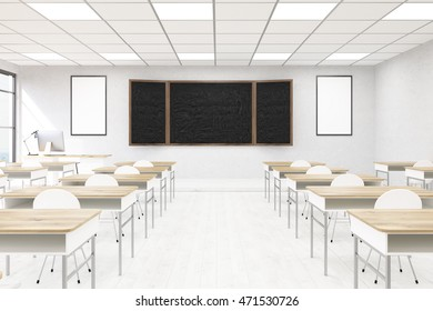 Classroom interior in modern school. Blackboard, desks, chairs and big windows. Concept of obtaining knowledge. Back to school. 3d rendering. Mock up