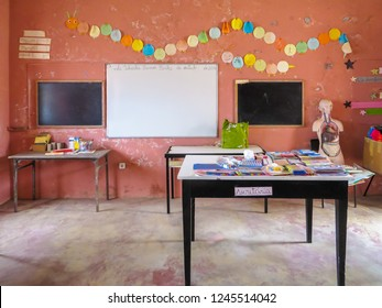 Classroom of primary school in Povoacao Velha, Boa Vista, Cape Verde, Africa