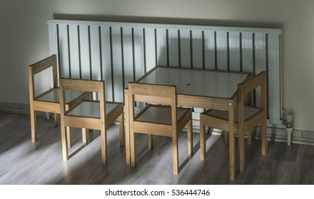 classroom with table and chairs in the kindergarden