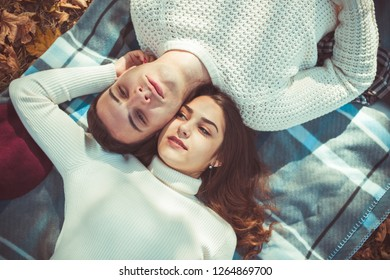 Classy couple is spending the day outdoors, lying in the park, enjoying the day together