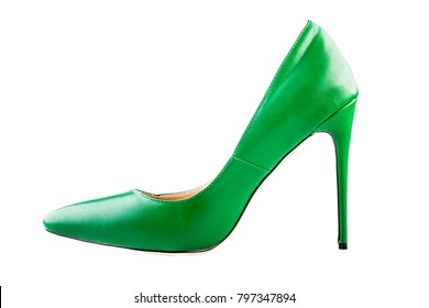 A classy pair of green high heels shoes isolated over a white background