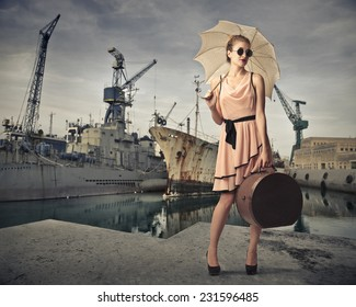 Classy traveler at the harbour