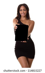 Classy woman in a black dress presents a tablet computer.