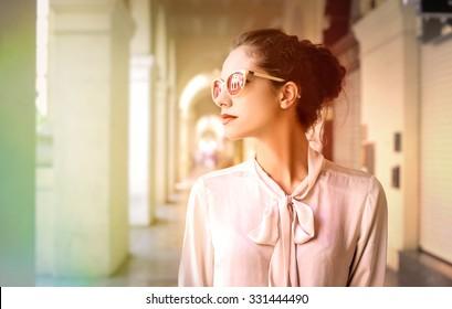 Classy woman walking in the city