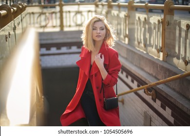 Classy woman walking in the street