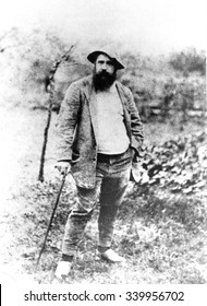 Claude Monet, at age 49, in his garden at Giverny, France 1890. Photo by Theodore Robinson.