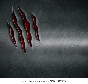 claw scratched marks on metal background