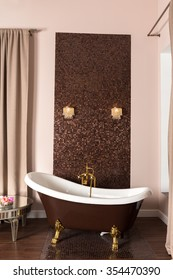 Claw-foot bathtub in a luxurious bathroom
