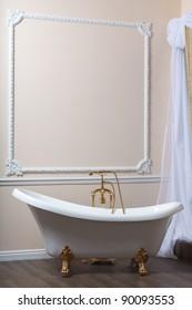 Claw-foot tub in a luxurious bathroom