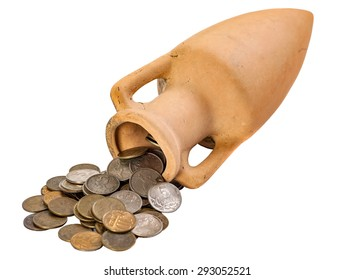 clay amphora with coins were scattered isolated on a white background