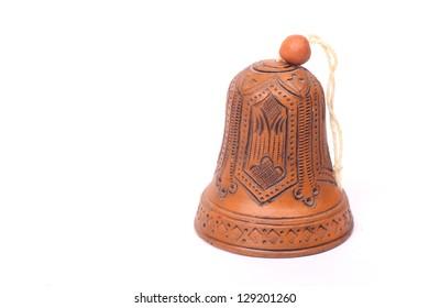 Clay Bell of bright ceramic ornament folk