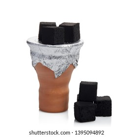 Clay bowl for hookah (shisha, hooka)  with cubes of coconut coal isolated on a white background.