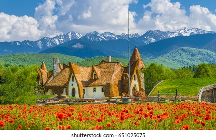 Clay Castle of the Valley of Fairies, Porumbacu village, Sibiu landmark, Romania