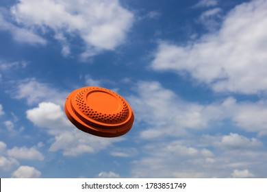 Clay disc target shooting on the blue sky , Clay pigeon targets